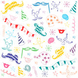 Colorful Hand Drawn Party Symbols. Children Drawings of Party Elements. Royalty Free Stock Photo