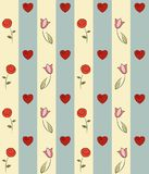 Colorful hand-drawn pattern. Seamless hand-drawn pattern with flowers and hearts Royalty Free Stock Images