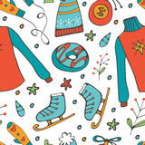 Colorful hand drawn pattern of winter elements Royalty Free Stock Photography