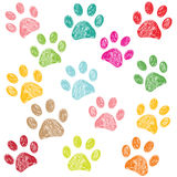 Colorful hand drawn paw print vector illustration Royalty Free Stock Image