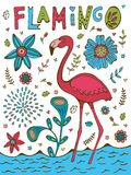 Colorful hand drawn poster with flamingo and hand lettering Stock Photo