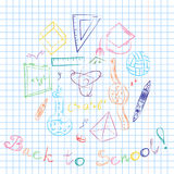 Colorful Hand Drawn School Symbols. Children Drawings of Ball, Books,Pencils, Rulers, Flask, Compass, Arrows Arranged in a Circle Royalty Free Stock Image