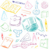 Colorful Hand Drawn School Symbols. Children Drawings of Ball, Books,Pencils, Rulers, Flask, Compass, Arrows. Royalty Free Stock Photos