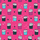 Colorful hand drawn Seamless background pattern with delicious dessert cupcakes Stock Images