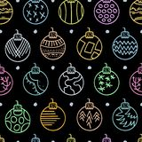 Colorful Hand drawn seamless pattern with Christmas Balls on black background Stock Photo