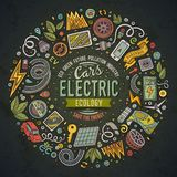 Vector hand drawn set of Electric cars cartoon doodle objects Royalty Free Stock Images