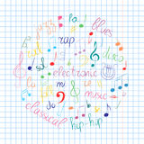 Colorful Hand Drawn Set of  Music Symbols.  Doodle Treble Clef, Bass Clef, Notes and Music Styles Arranged in a Circle on Sheet. Royalty Free Stock Photos