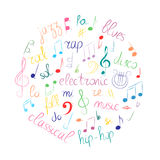 Colorful Hand Drawn Set of  Music Symbols.  Doodle Treble Clef, Bass Clef, Notes and Music Styles Arranged in a Circle Stock Images