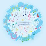 Colorful Hand Drawn Set of  Music Symbols.  Doodle Treble Clef, Bass Clef, Notes and Lyre Arranged in a Circle on Blue. Vector Illustration Royalty Free Stock Photo