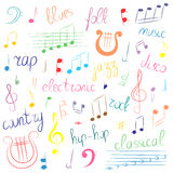 Colorful Hand Drawn Set of Music Symbols and Styles. Doodle Treble Clef, Bass Clef, Notes and Lyre. Lettering of Blues, Electron Stock Images