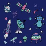 Colorful hand drawn set of space objects . royalty free illustration