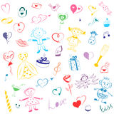 Colorful Hand Drawn Set of Valentine`s Day Symbols. Children`s Cute Drawings of Hearts, Gifts, Rings, Balloons and Kids. stock illustration