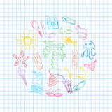 Colorful Hand Drawn Summer Symbols. Doodle Boats, Ice cream, Palms, Hat, Umbrella, Jellyfish, Cocktail, Sun Arranged in a Circle Royalty Free Stock Photos