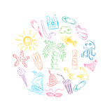 Colorful Hand Drawn Summer Symbols. Doodle Boats, Ice cream, Palms, Hat, Umbrella, Jellyfish, Cocktail, Sun Arranged in a Circle Stock Images