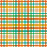 Colorful hand drawn tartan plaid gingham pattern. Seamless vector background. Uneven wonky textured lines. Organic classic royalty free illustration
