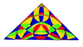 Colorful hand drawn triangle. A colorful hand drawn triangle on a white background Stock Photo