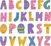 Colorful hand drawn tribal font Stock Photography