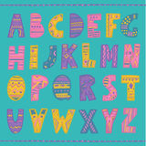 Colorful hand drawn tribal font Stock Image