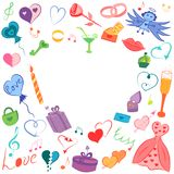 Colorful Hand Drawn Valentines Day Symbols. Children`s Funny Doodle Drawings of Hearts, Gifts, Rings, Balloons and Candle. Vector Illustration stock illustration