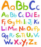 Colorful hand drawn vector alphabet. Vector illustration Stock Images