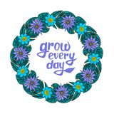 Floral wreath with text stock illustration