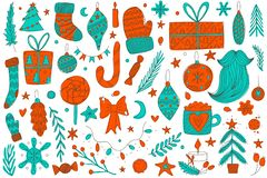 Colorful hand drawn vector christmas doodle set. sketch christmas symbols in the red and green colors. Colorful hand drawn vector christmas doodle set with stock illustration