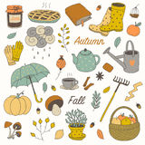 Colorful hand drawn vector fall set. Cute colorful hand drawn vector fall set Royalty Free Stock Photo