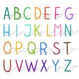 Colorful hand drawn vector flat modern full alphabet. Royalty Free Stock Images