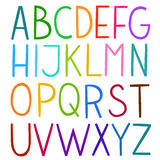 Colorful hand drawn vector full alphabet. stock illustration