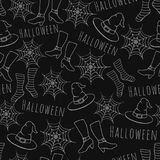 Colorful hand drawn vector halloween seamless pattern on the black background royalty free illustration