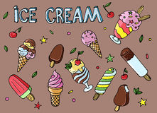 Colorful hand drawn vector ice cream with leaves, berries Royalty Free Stock Image