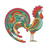 Colorful hand drawn vector illustration of fiery rooster Royalty Free Stock Image
