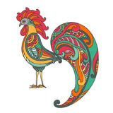 Colorful hand drawn vector illustration of fiery rooster Royalty Free Stock Photos