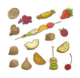 Colorful hand drawn vector illustrations set of sweets: candies, Stock Images