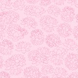 Colorful hand drawn vector lilies contours seamless pattern on pink background. Royalty Free Stock Images