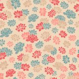 Colorful hand drawn vector lilies silhouettes seamless pattern in retro style on beige background Stock Photo