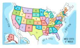 Colorful hand drawn vector map of the USA stock illustration