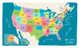 Colorful hand drawn vector map of the USA vector illustration