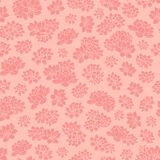 Colorful hand drawn vector pink lilies silhouettes seamless pattern Stock Images