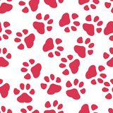 Colorful hand drawn watercolor illustration with animal footprints. red paw. vector illustration