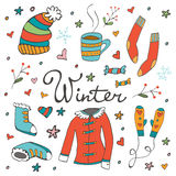 Colorful hand drawn winter collection Royalty Free Stock Images