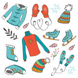 Colorful hand drawn winter collection Royalty Free Stock Photography