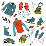 Colorful hand drawn winter collection Royalty Free Stock Photo