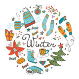 Colorful hand drawn winter collection in round composition. Illustration in vector format Royalty Free Stock Photos
