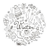 Colorful hand drawn winter collection in round composition Stock Photo
