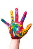 A colorful hand edge. A painted colorful hand upright before a white background Stock Photography