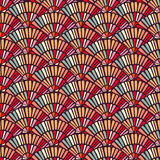 Colorful hand fan mosaic tile seamless pattern Stock Images
