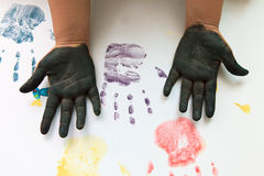 Colorful hand and finger of children play Royalty Free Stock Images