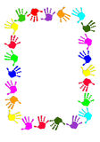 Colorful hand frame. On white background Stock Photography