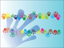 Colorful hand frame. Colorful hand illustration for your text royalty free illustration